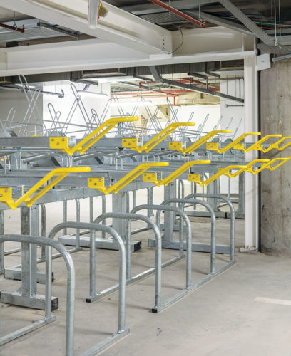 bike rack with dedicated entrance and parking