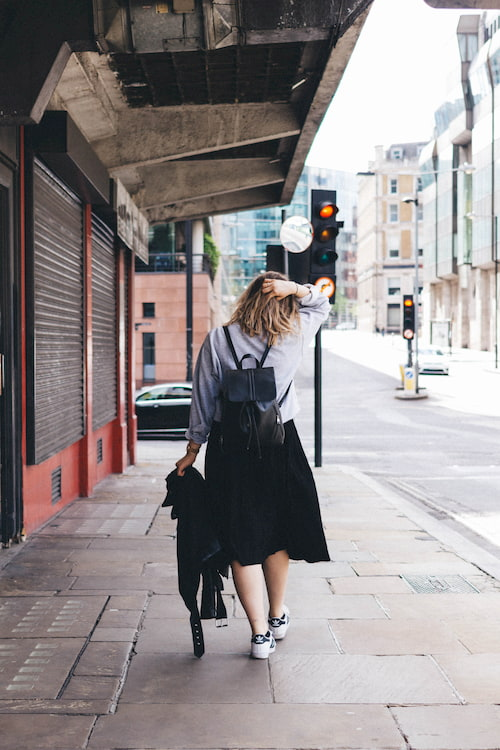 Lady walking the streets of london