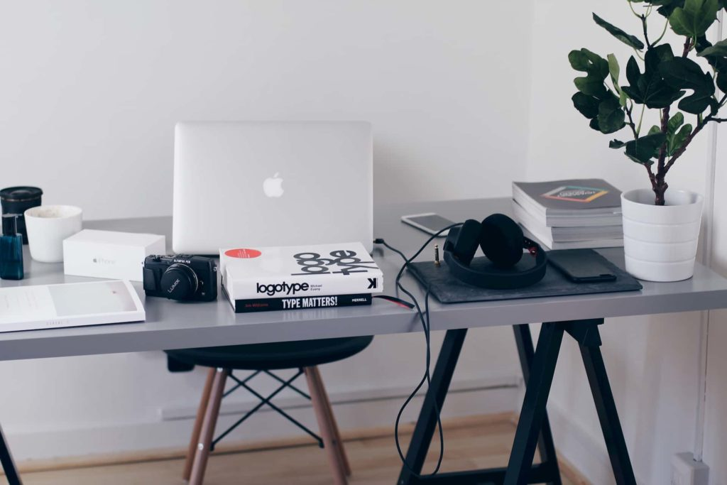 Workspace at home with laptop and desk