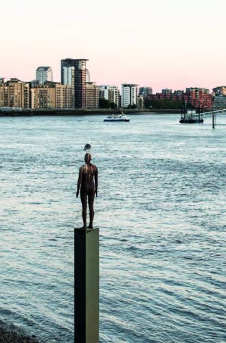 Statue in the Thames in East London
