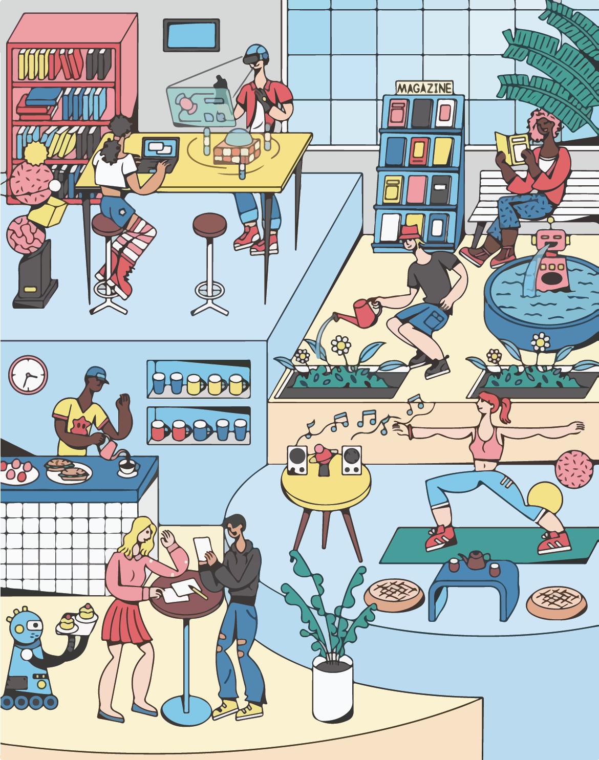 Future of the office full illustration