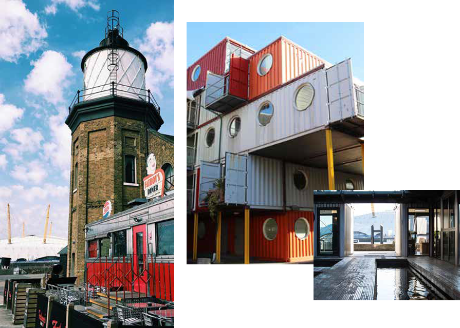 trinity buoy wharf collage showing shipping container offices